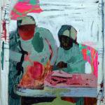 Nykypsykiatria 2 / 161 x 138 / akryyli ja kollaasi kankaalle, 2016