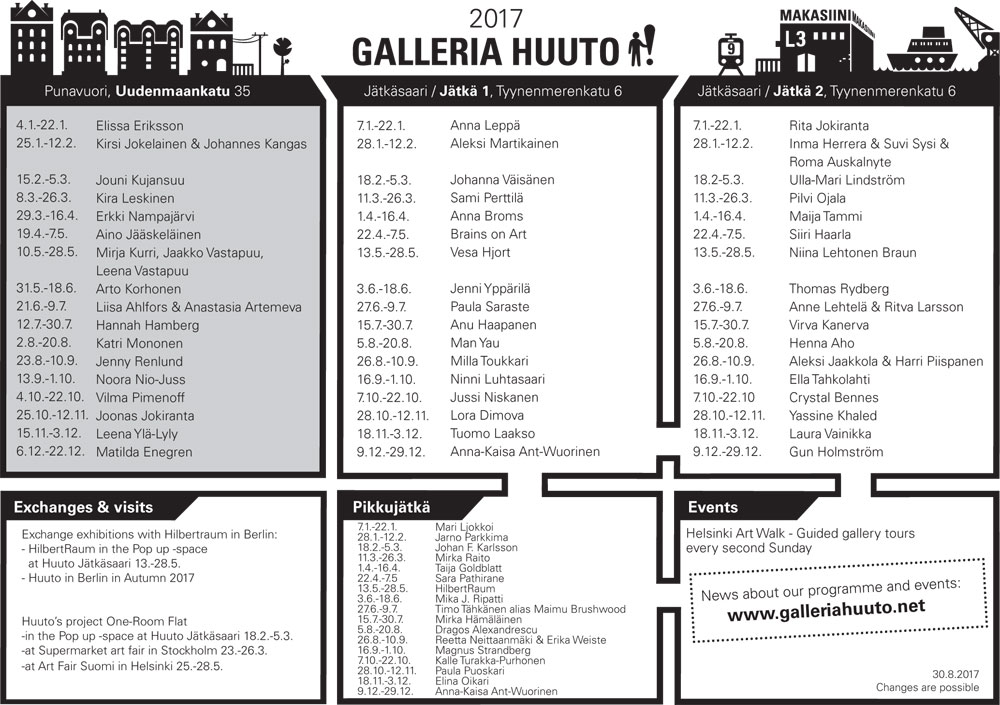 Huuto exhibition program 2017