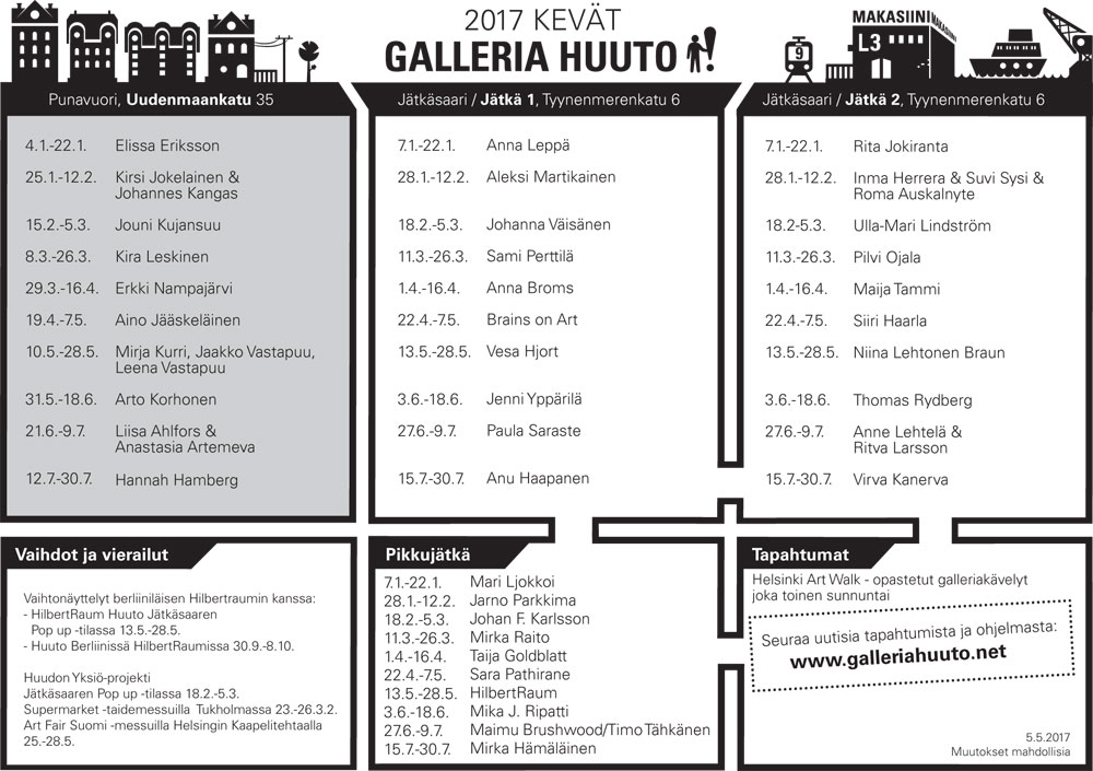 Huuto näyttelykalenteri keväälle 2017