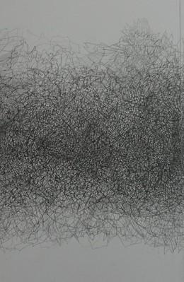 Yksityiskohta teoksesta: The World I Left Behind (Bobb Trimble). 142 x 342 cm, grafiitti paperille, 2016