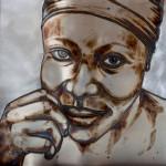 Mirja Kurri: Mariama – Hope Is Not Gone Altogether, 2016, sekatekniikka teräslevylle / mixed media on sheet iron, 100 x 100 cm Valokuva: Ankku Ronkanen
