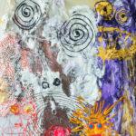 Autonavaimia syöttämässä, akryyli kankaalle, 105cm x 100cm, 2017