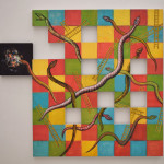 Daniel Wiesenfeld: Snakes and Ladders 1, gouache on panels, 100 x 90 cm, 2016